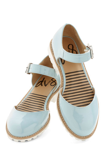 Beneath Blue Skies Flat by Dolce Vita - Low, Faux Leather, Blue, Solid, Buckles, Daytime Party, Minimal, Good, Mary Jane