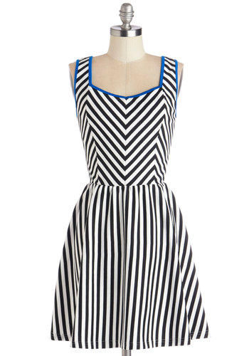 Bygone Riviera Dress - Black, White, Stripes, Bows, Casual, A-line, Sleeveless, Good, Knit, Mid-length