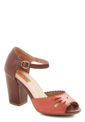 Lovely Lunch Date Heel in Strawberry by Miz Mooz - Mid, Leather, Pink, Brown, Solid, Cutout, Scallops, Party, Work, Daytime Party, Best, Peep Toe, Chunky heel, Variation, Vintage Inspired, 40s