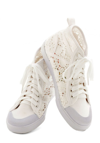 Crochet the Word Sneaker - Low, Woven, White, Solid, Crochet, Casual, Urban, Good, Lace Up, Festival, Summer, Boho