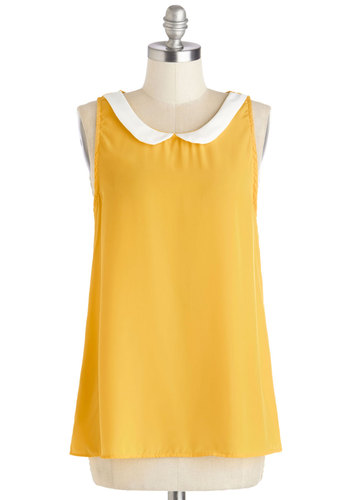 Classy Collector Top in Sun - Yellow, White, Sleeveless, Collared, Scoop, Woven, Peter Pan Collar, Work, Yellow, Sleeveless, Variation, Mid-length, Spring, Summer, Americana, Good