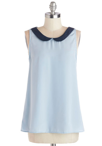 Classy Collector Top in Sky - Blue, Sleeveless, Collared, Woven, Solid, Peter Pan Collar, Work, Pastel, Mid-length, Blue, Sleeveless