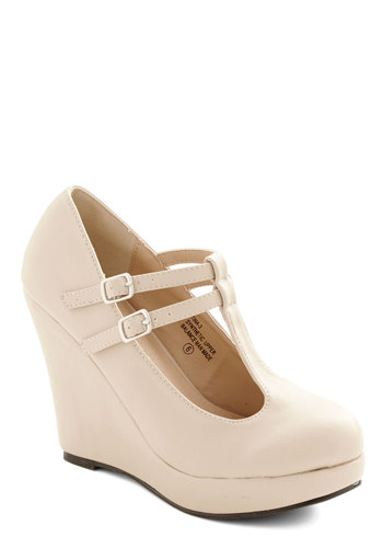 Book Tour de Force Wedge in Cream - High, Faux Leather, Cream, Solid, Party, Work, Minimal, Good, Platform, Wedge, Mary Jane, T-Strap, Variation