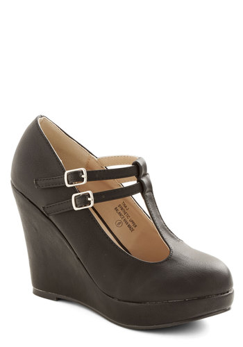 Book Tour de Force Wedge in Noir - High, Faux Leather, Black, Solid, Party, Work, Minimal, Good, Platform, Wedge, Mary Jane, T-Strap, Variation