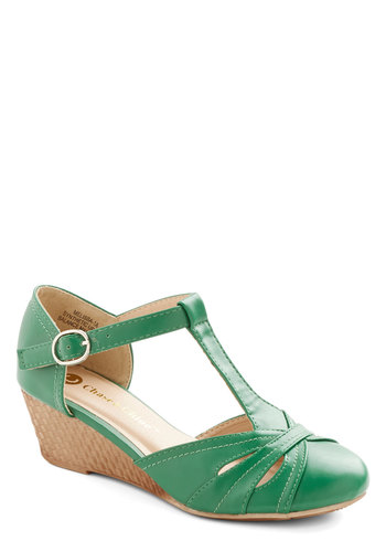 Weave Nothing to Chance Wedge in Emerald - Low, Faux Leather, Green, Tan / Cream, Solid, Cutout, Woven, Daytime Party, Good, Wedge, T-Strap, Variation