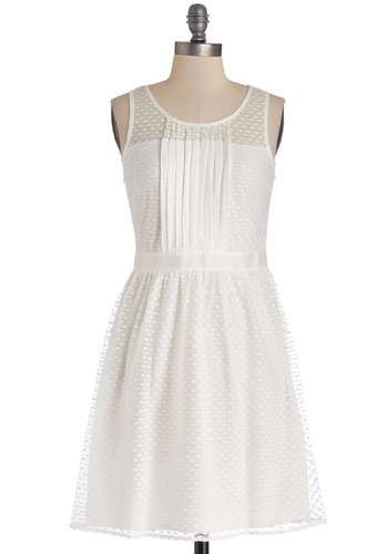 Illuminate Your Elegance Dress - White, Solid, Lace, Pleats, Casual, A-line, Sleeveless, Good, Scoop, Woven, Mid-length, Sheer