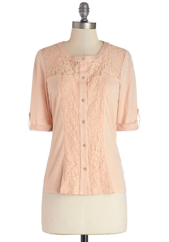 Delectable Day Top - Good, Pink, Tab Sleeve, Knit, Woven, Mid-length, Sheer, Lace, Pink, Solid, Buttons, Lace, Casual, Pastel, Short Sleeves