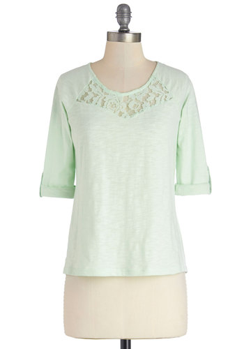Telling Stories Top - Green, Tab Sleeve, Cotton, Knit, Mid-length, Sheer, Mint, Solid, Lace, Casual, Pastel, Short Sleeves, Lace