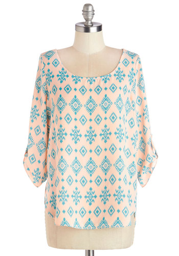Sunday in Sedona Top - Mid-length, Chiffon, Woven, Pink, Blue, Print, Work, Pastel, 3/4 Sleeve, Spring, Good, Pink, Tab Sleeve, Casual, Scoop