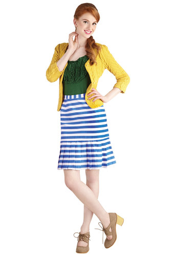 Pleat of Your Own Drummer Skirt - Mid-length, Cotton, Woven, Stripes, Pleats, Daytime Party, Nautical, Exclusives, Pencil, Spring, Blue, Work, Casual, Beach/Resort, Americana, High Waist, Summer, Good, Blue
