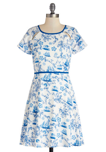 Caravel Dreaming Dress by Yumi - Blue, Cutout, Trim, Daytime Party, Nautical, A-line, Short Sleeves, Better, Scoop, Woven, Mid-length, White, Novelty Print, Spring