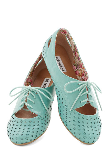 Refined Your Footing Flat in Turquoise - Flat, Faux Leather, Blue, Solid, Cutout, Casual, Menswear Inspired, Vintage Inspired, 20s, 30s, Pastel, Lace Up, Variation