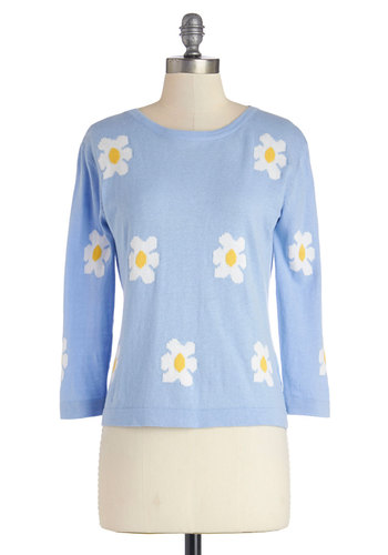 It's a Spring Thing Sweater by Kling - Cotton, Knit, Short, Blue, Yellow, White, Floral, Casual, Pastel, 3/4 Sleeve, Spring, Crew, Blue, 3/4 Sleeve