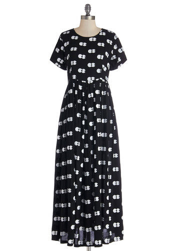 Darling After Dark Dress by Lazy Oaf - White, Novelty Print, Casual, Quirky, A-line, Short Sleeves, Better, Scoop, Woven, Long, 90s, Black