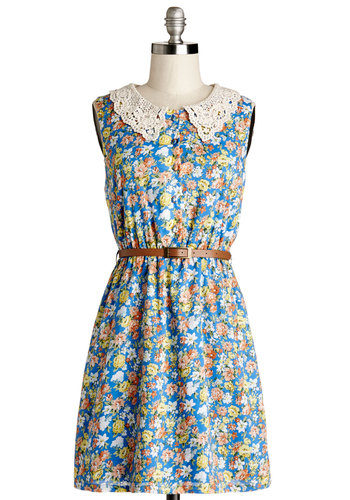 The Way It Grows Dress in Azure - Multi, Floral, Crochet, Belted, Casual, A-line, Sleeveless, Good, Collared, Woven, Short