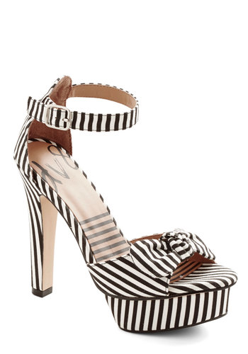Attention Everyone! Heel in Stripes by Dolce Vita - High, Woven, White, Stripes, Bows, Party, Girls Night Out, Rockabilly, Pinup, Better, Multi, Black, Platform, Variation