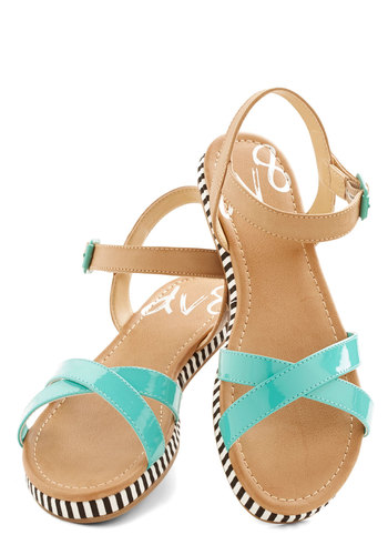 Poolside Cool Sandal by Dolce Vita - Flat, Faux Leather, Blue, Tan / Cream, Black, White, Stripes, Colorblocking, Summer, Better, Platform, Beach/Resort
