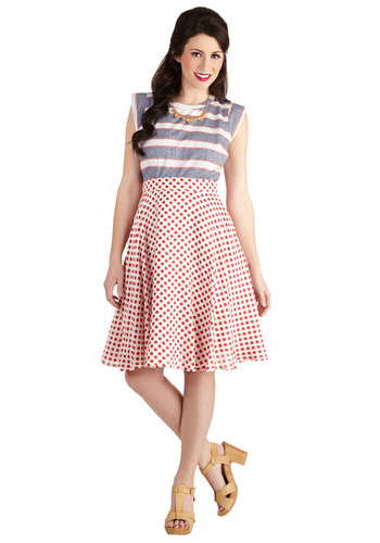 Delightful Detours Skirt - Good, White, Mid-length, Woven, Red, White, Polka Dots, Pockets, Daytime Party, Full