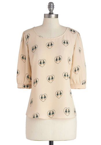 Duck in Love Top by Sugarhill Boutique - Chiffon, Woven, Cream, Print with Animals, Critters, 3/4 Sleeve, Better, International Designer, White, 3/4 Sleeve, Casual, Scoop, Bird, Woodland Creature