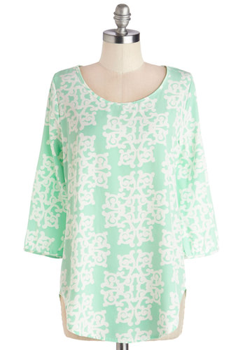 Cabana Cool Top - Chiffon, Woven, Mint, White, Print, Work, 3/4 Sleeve, Spring, Better, Scoop, Green, 3/4 Sleeve, Pastel, Buttons, Long