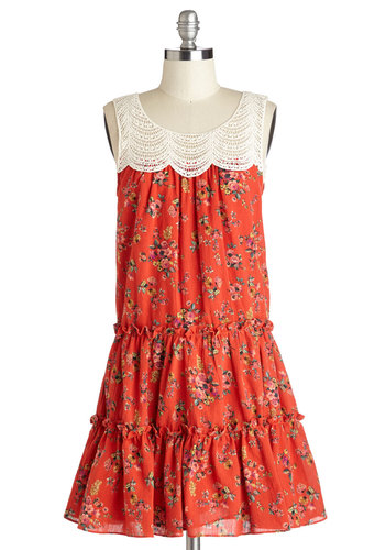 Far Field Charm Dress - Red, Floral, Crochet, Casual, Sack, Sleeveless, Good, Scoop, Cotton, Woven, Mid-length, Tan / Cream, Multi, Boho, Festival
