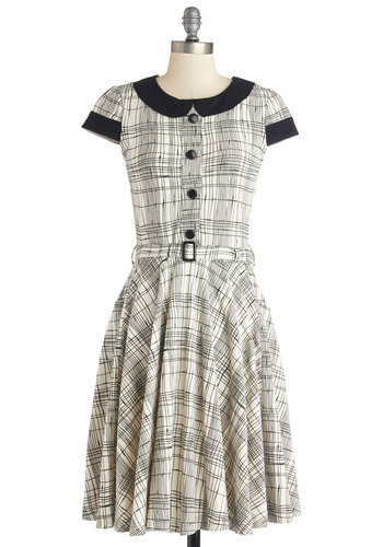 Adorable Artist Dress in Plaid by Effie's Heart - Black, White, Plaid, Buttons, Belted, Casual, A-line, Shirt Dress, Cap Sleeves, Better, Collared, Knit, Peter Pan Collar, Work, Variation, Show On Featured Sale, Long