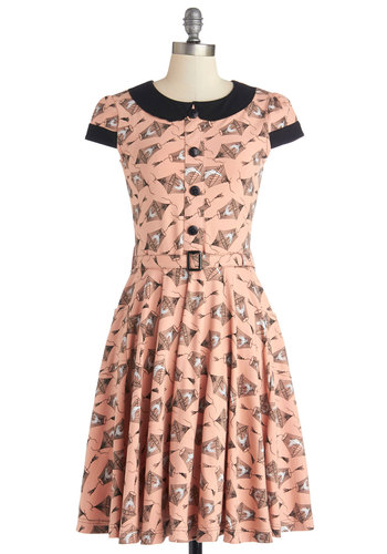 Adorable Artist Dress in Birdcage by Effie's Heart - Pink, Black, Buttons, Belted, Casual, A-line, Shirt Dress, Cap Sleeves, Better, Collared, Knit, Novelty Print, Peter Pan Collar, Pockets, Variation, Show On Featured Sale, Bird, Woodland Creature, Long