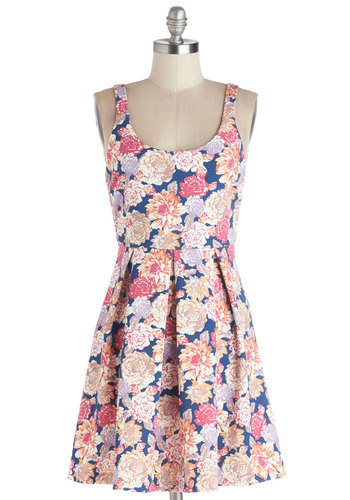 Market Sharing Dress by Mink Pink - Multi, Floral, Pleats, Casual, A-line, Sleeveless, Better, Scoop, Short, Knit, Backless, Graduation, Sundress