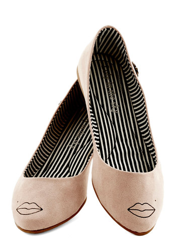 Kiss Me Good Morning Flat - Flat, Faux Leather, Tan, Novelty Print, Casual, Quirky, Good