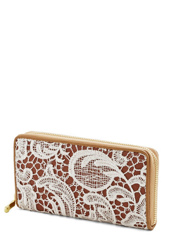 Hello, Good Buy Wallet - Tan, Tan / Cream, Solid, Lace, Faux Leather