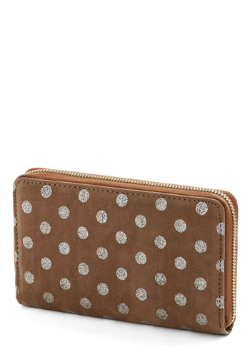 Dollars and Sense Wallet - Silver, Polka Dots, Grey, Faux Leather, Brown