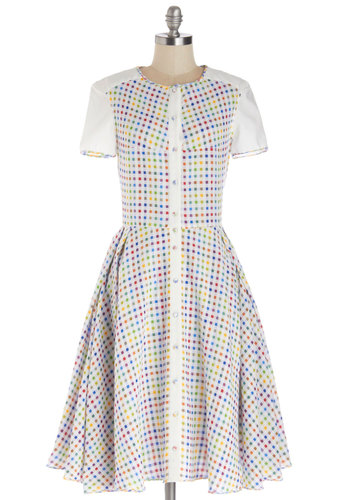 If I Only Had A Rainbow Dress - Buttons, A-line, Short Sleeves, Best, Woven, Long, Cotton, Checkered / Gingham, Daytime Party, Americana, Multi, Red, Yellow, Green, Blue, White