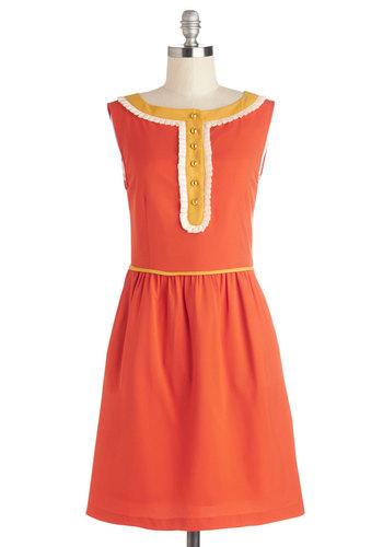 Marmalade Marvel Dress by Dear Creatures - Orange, Yellow, Solid, Buttons, Ruffles, Trim, Casual, Vintage Inspired, 60s, A-line, Sleeveless, Better, Boat, Woven, Pockets, Work, Mid-length, Show On Featured Sale