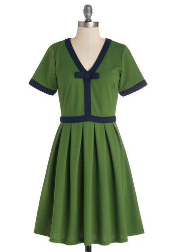 Night Brunch Dress in Fern by Dear Creatures - Green, Solid, Bows, Pleats, Trim, Casual, Vintage Inspired, 60s, A-line, Short Sleeves, Better, V Neck, Knit, Mid-length, Blue, Variation, Quirky
