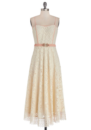 An Elegant Air Dress - Lace, Trim, Daytime Party, A-line, Strapless, Better, Long, Woven, Lace, Cream, Pink, Solid, Belted, Maxi
