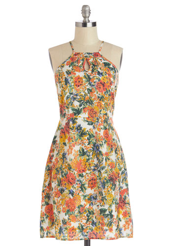 Flavored Lemonade Dress by Tulle Clothing - Multi, Floral, Cutout, Casual, A-line, Sleeveless, Halter, Mid-length, Woven, Summer, Beach/Resort, Sundress