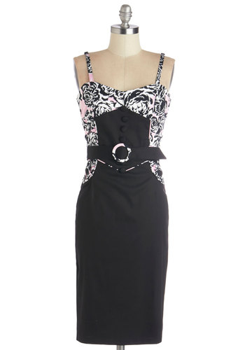 Vogue Valor Dress - Black, Pink, Print, Buttons, Girls Night Out, Shift, Spaghetti Straps, Better, Knit, Long, Belted, Party, Pinup, Vintage Inspired, 50s