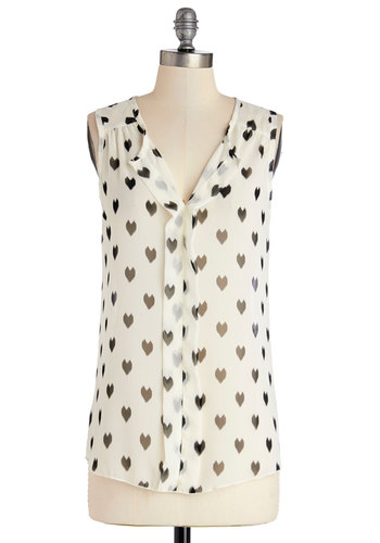Hard Not to Love Top - Chiffon, Sheer, Woven, Mid-length, White, Black, Novelty Print, Casual, Sleeveless, White, Sleeveless
