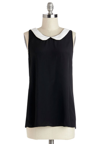 Classy Collector Top in Black - Black, White, Work, Sleeveless, Collared, Scoop, Chiffon, Woven, Solid, Peter Pan Collar, Mid-length, Black, Sleeveless