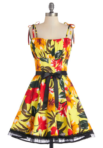 Setting Sun Dress - Multi, Floral, Belted, Daytime Party, Fit & Flare, Spaghetti Straps, Better, Cotton, Woven, Mid-length, Summer