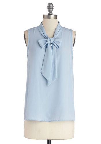 Business Trip Bliss Top in Sky - Blue, Sleeveless, Chiffon, Woven, Solid, Tie Neck, Work, Pastel, Blue, Sleeveless, Mid-length, Spring