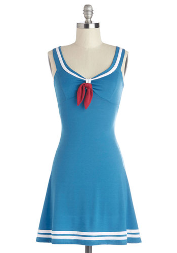 Embraceable Blue Dress - Blue, White, Trim, Casual, Nautical, A-line, Sleeveless, Better, Mid-length, Tie Neck, Variation