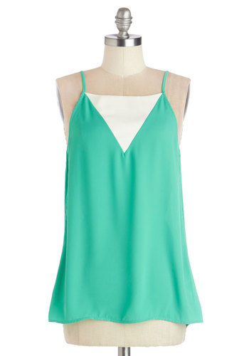 It Takes Tulips Top - Woven, Mid-length, White, Solid, Sleeveless, Summer, Good, Green, Sleeveless, Mint, Pastel, Green