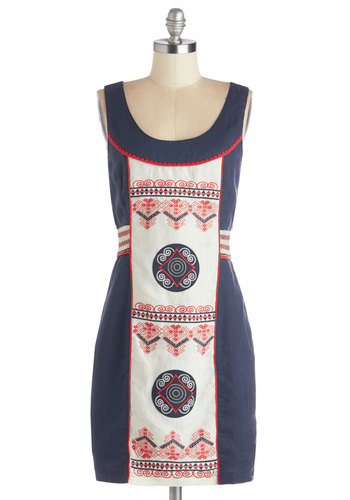 Art Inspiring Dress - Embroidery, Trim, Casual, Folk Art, Festival, Shift, Sleeveless, Better, Scoop, Woven, Mid-length, Multi, Red, Blue, White, Boho