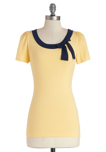 Town Square Fair Top - Knit, Mid-length, Yellow, Solid, Bows, Work, Short Sleeves, Good, Scoop, Yellow, Short Sleeve, Blue, Nautical