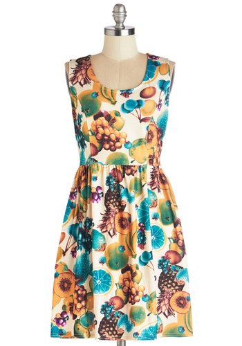 Fashionably Saturate Dress by Tulle Clothing - Knit, Short, Multi, Novelty Print, Pockets, Casual, Fruits, A-line, Sleeveless, Better, Scoop