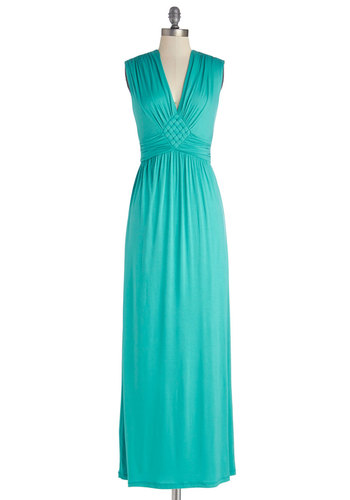 Match Made in Jade Dress - Knit, Long, Jersey, Green, Solid, Ruching, Casual, Maxi, Sleeveless, Good, V Neck, Woven, Summer