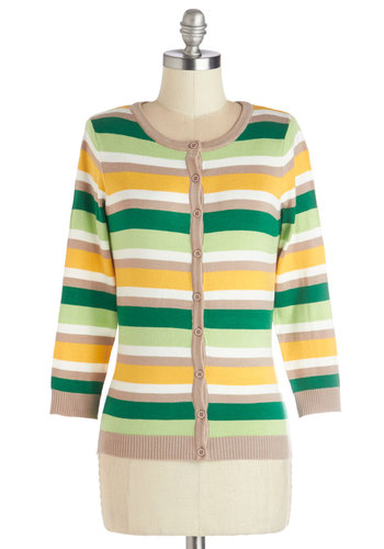 Fro-Yo Date Cardigan - Knit, Mid-length, Green, Yellow, Tan / Cream, White, Stripes, Buttons, Casual, 3/4 Sleeve, Spring, Good, Green, 3/4 Sleeve, Work