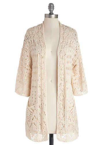 Breezy Beach Cardigan - White, 3/4 Sleeve, Sheer, Woven, Cream, Solid, Knitted, Pockets, Casual, 3/4 Sleeve