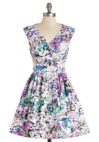Destination Darling Dress in Lilac - Cotton, Mid-length, Woven, Multi, Floral, Cutout, Party, Fit & Flare, Sleeveless, Good, V Neck
